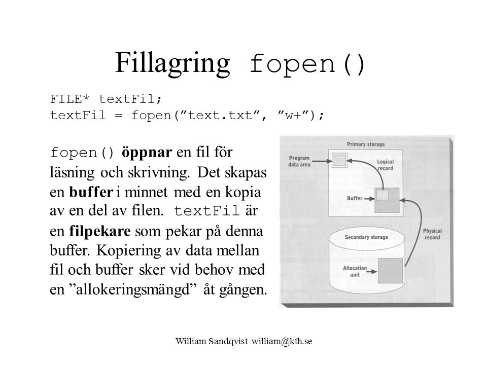 "William Sandqvist william@kth.se Fillagring fopen() FILE* textFil; textFil = fopen(""text.txt"", ""w+""); fopen() öppnar en fil för läsning och skrivning."