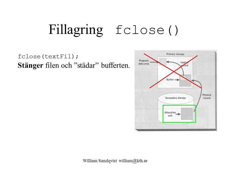 "William Sandqvist william@kth.se Fillagring fclose() fclose(textFil); Stänger filen och ""städar"" bufferten."