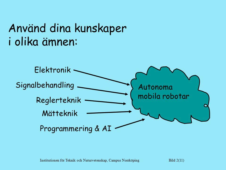 Autonoma mobila robotar Elektronik Signalbehandling Reglerteknik Mätteknik Programmering & AI Institutionen för Teknik och Naturvetenskap, Campus Norrköping Bild 2(11) Använd dina kunskaper i olika ämnen: