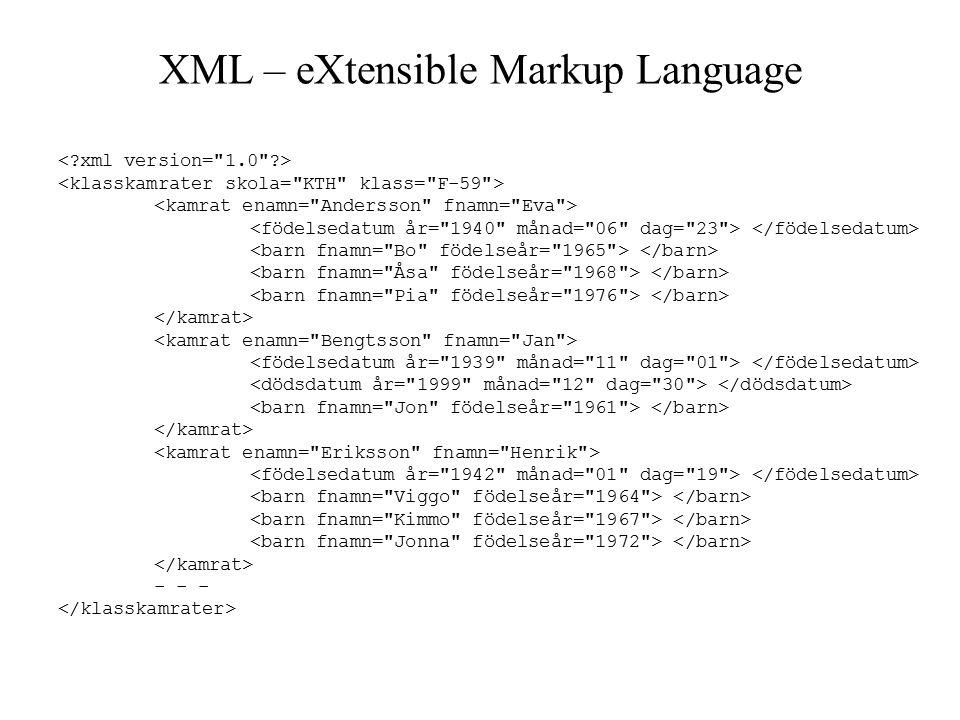 XML – eXtensible Markup Language - - -