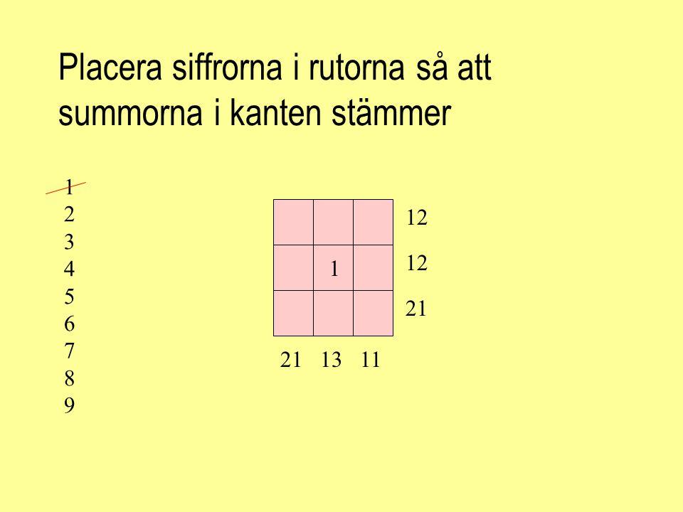 Placera siffrorna i rutorna så att summorna i kanten stämmer 42 43 50 454149 11 12 13 14 15 16 17 18 19 Kolla själv att det stämmer.