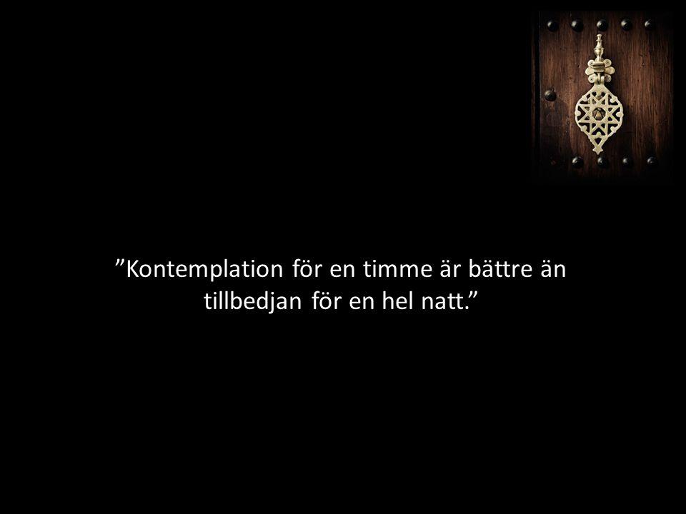 """""""Kontemplation för en timme är bättre än tillbedjan för en hel natt."""""""