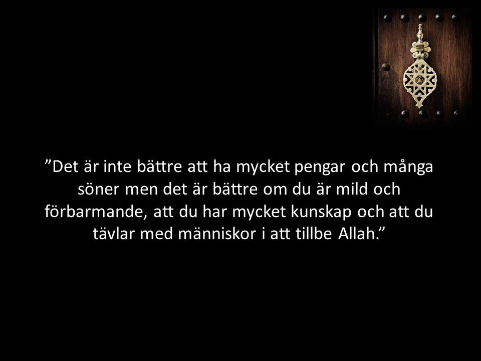 Det är inte bättre att ha mycket pengar och många söner men det är bättre om du är mild och förbarmande, att du har mycket kunskap och att du tävlar med människor i att tillbe Allah.