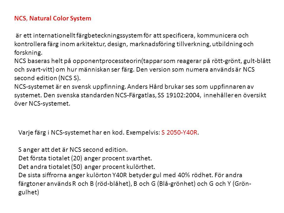 NCS, Natural Color System är ett internationellt färgbeteckningssystem för att specificera, kommunicera och kontrollera färg inom arkitektur, design,