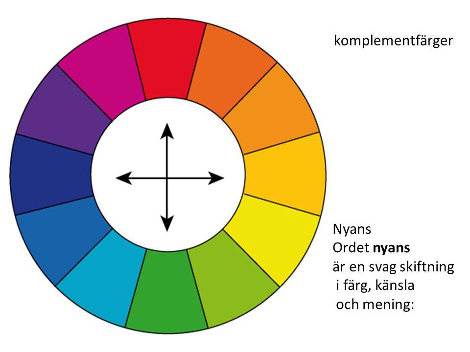 komplementfärger Nyans Ordet nyans är en svag skiftning i färg, känsla och mening: