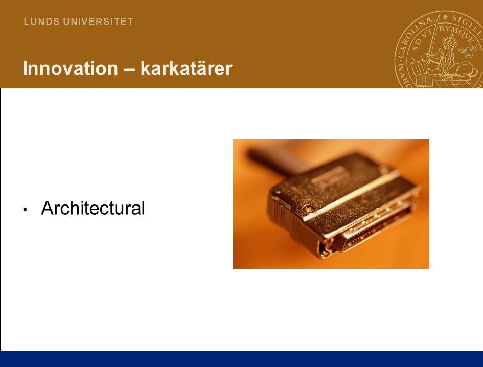 16 L U N D S U N I V E R S I T E T Innovation – karkatärer Architectural