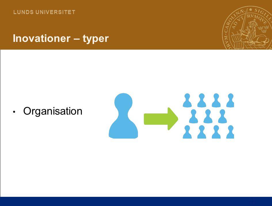 22 L U N D S U N I V E R S I T E T Inovationer – typer Organisation