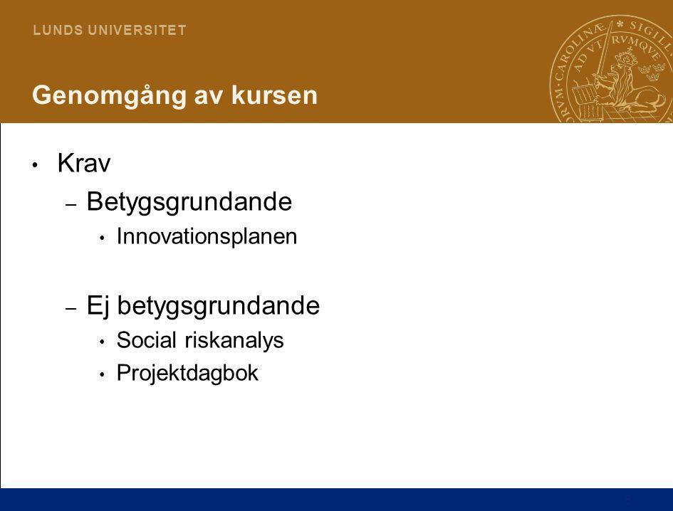 6 L U N D S U N I V E R S I T E T Genomgång av kursen Krav – Betygsgrundande Innovationsplanen – Ej betygsgrundande Social riskanalys Projektdagbok
