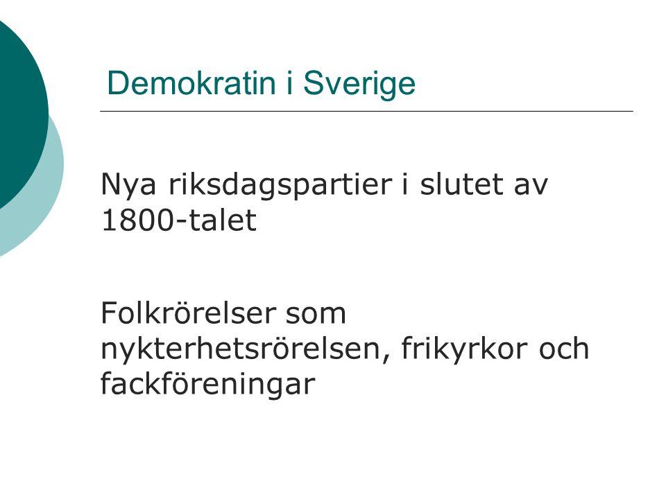 Demokratin i Sverige Nya riksdagspartier i slutet av 1800-talet Folkrörelser som nykterhetsrörelsen, frikyrkor och fackföreningar