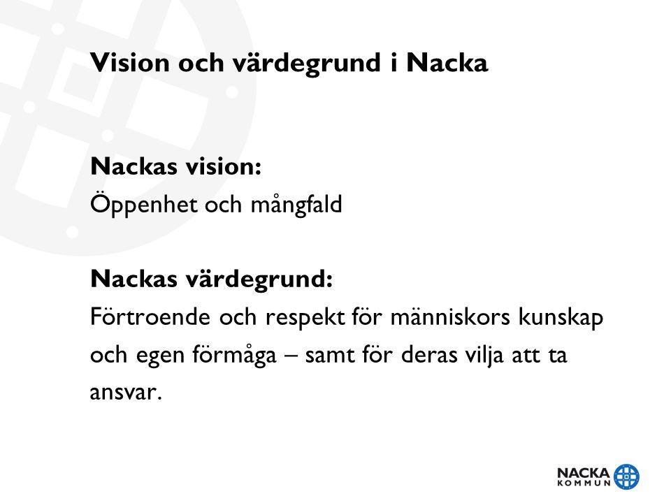 Vision och värdegrund i Nacka Nackas vision: Öppenhet och mångfald Nackas värdegrund: Förtroende och respekt för människors kunskap och egen förmåga – samt för deras vilja att ta ansvar.
