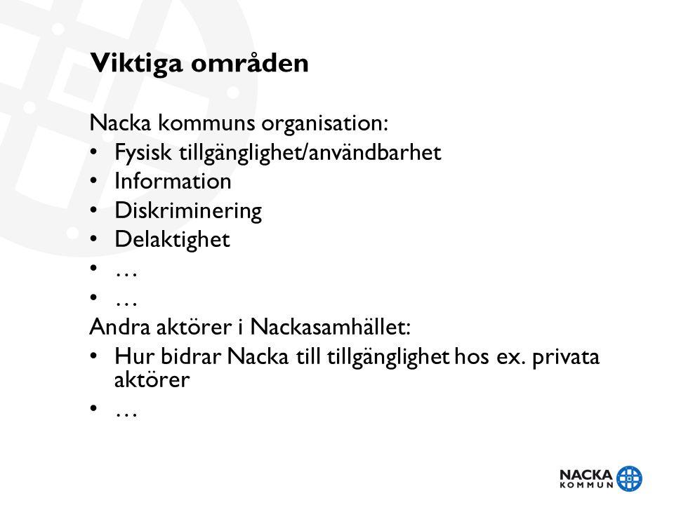Viktiga områden Nacka kommuns organisation: Fysisk tillgänglighet/användbarhet Information Diskriminering Delaktighet … Andra aktörer i Nackasamhället