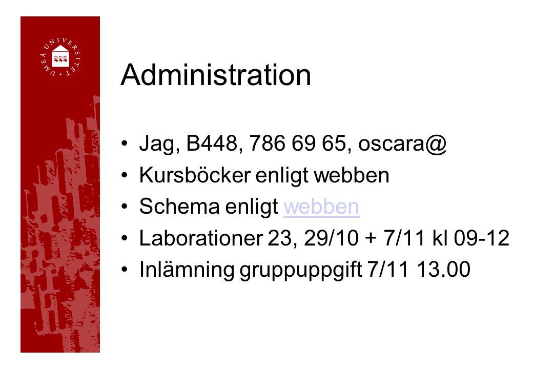 Administration Jag, B448, 786 69 65, oscara@ Kursböcker enligt webben Schema enligt webbenwebben Laborationer 23, 29/10 + 7/11 kl 09-12 Inlämning grup