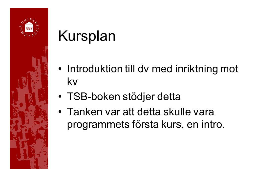 Kursplan Introduktion till dv med inriktning mot kv TSB-boken stödjer detta Tanken var att detta skulle vara programmets första kurs, en intro.