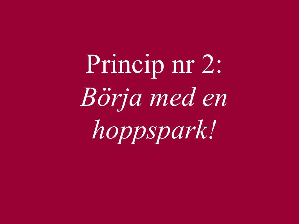 Princip nr 2: Börja med en hoppspark!