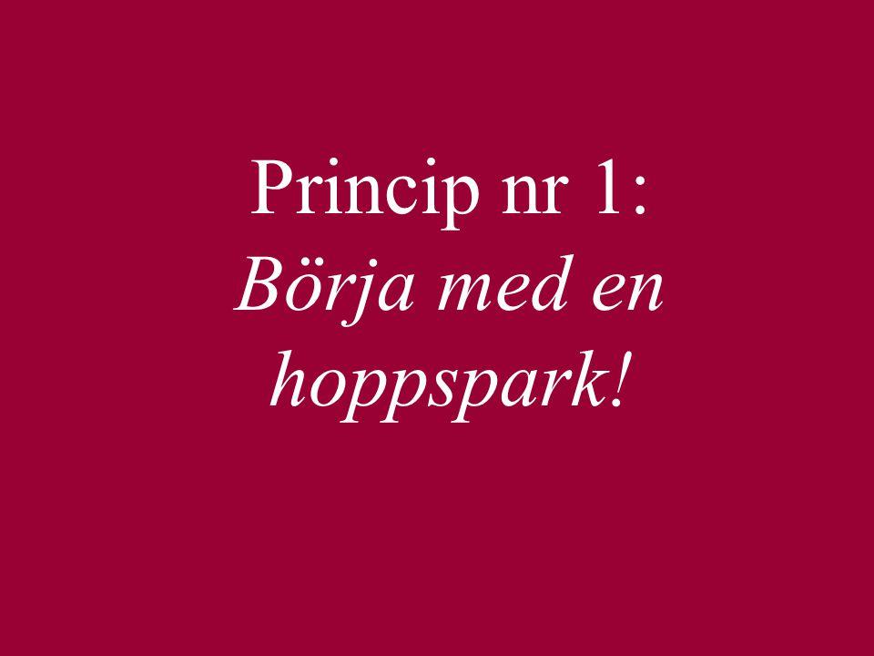 Princip nr 1: Börja med en hoppspark!