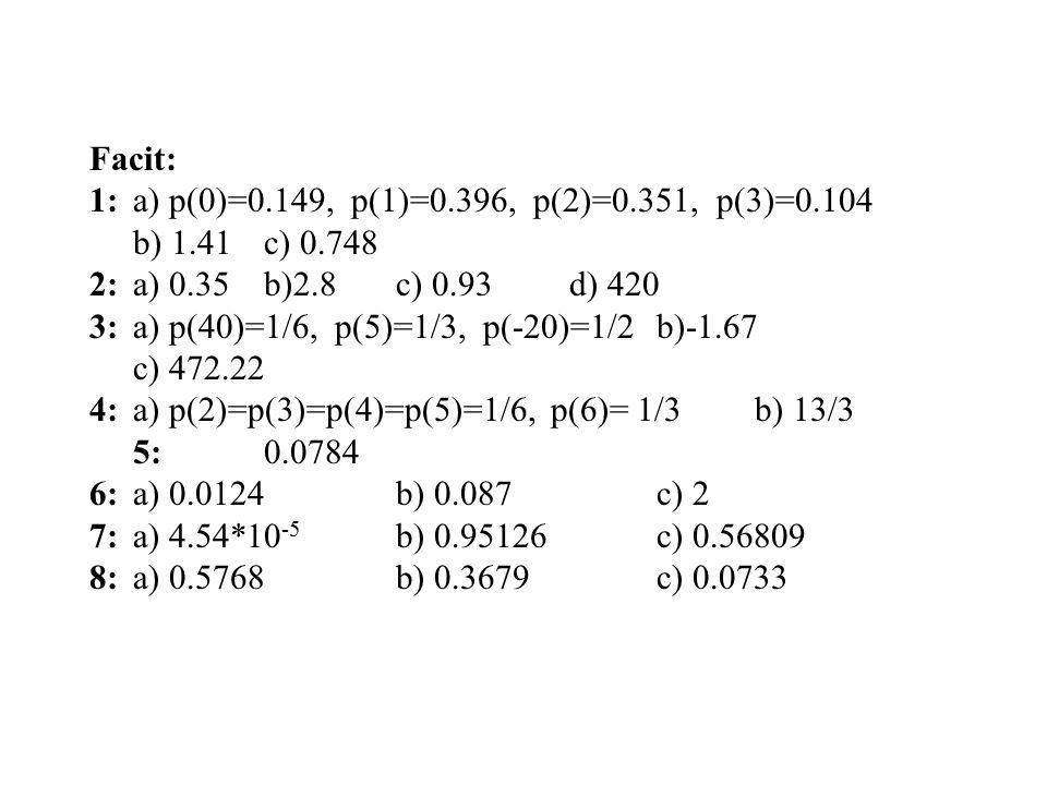 Facit: 1:a) p(0)=0.149, p(1)=0.396, p(2)=0.351, p(3)=0.104 b) 1.41c) 0.748 2:a) 0.35 b)2.8 c) 0.93 d) 420 3:a) p(40)=1/6, p(5)=1/3, p(-20)=1/2b)-1.67 c) 472.22 4:a) p(2)=p(3)=p(4)=p(5)=1/6, p(6)= 1/3b) 13/3 5:0.0784 6:a) 0.0124b) 0.087c) 2 7:a) 4.54*10 -5 b) 0.95126c) 0.56809 8:a) 0.5768b) 0.3679c) 0.0733