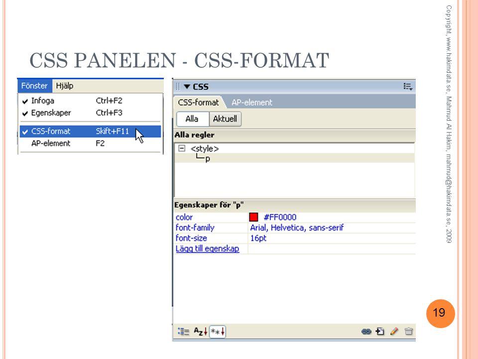 19 CSS PANELEN - CSS-FORMAT Copyright, www.hakimdata.se, Mahmud Al Hakim, mahmud@hakimdata.se, 2009