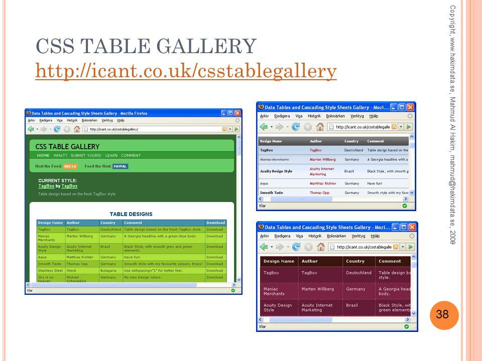 38 CSS TABLE GALLERY http://icant.co.uk/csstablegallery http://icant.co.uk/csstablegallery Copyright, www.hakimdata.se, Mahmud Al Hakim, mahmud@hakimdata.se, 2008Copyright, www.hakimdata.se, Mahmud Al Hakim, mahmud@hakimdata.se, 2009