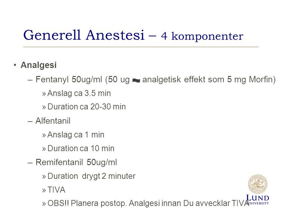 Generell Anestesi – 4 komponenter Analgesi –Fentanyl 50ug/ml (50 ug analgetisk effekt som 5 mg Morfin) »Anslag ca 3.5 min »Duration ca 20-30 min –Alfe