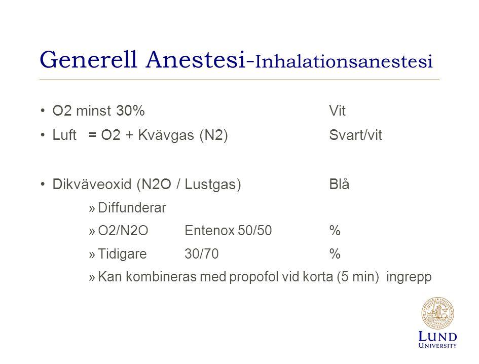 Generell Anestesi- Inhalationsanestesi O2 minst 30%Vit Luft= O2 + Kvävgas (N2)Svart/vit Dikväveoxid (N2O / Lustgas) Blå »Diffunderar »O2/N2OEntenox 50