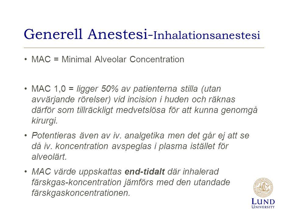 Generell Anestesi- Inhalationsanestesi MAC = Minimal Alveolar Concentration MAC 1,0 = ligger 50% av patienterna stilla (utan avvärjande rörelser) vid