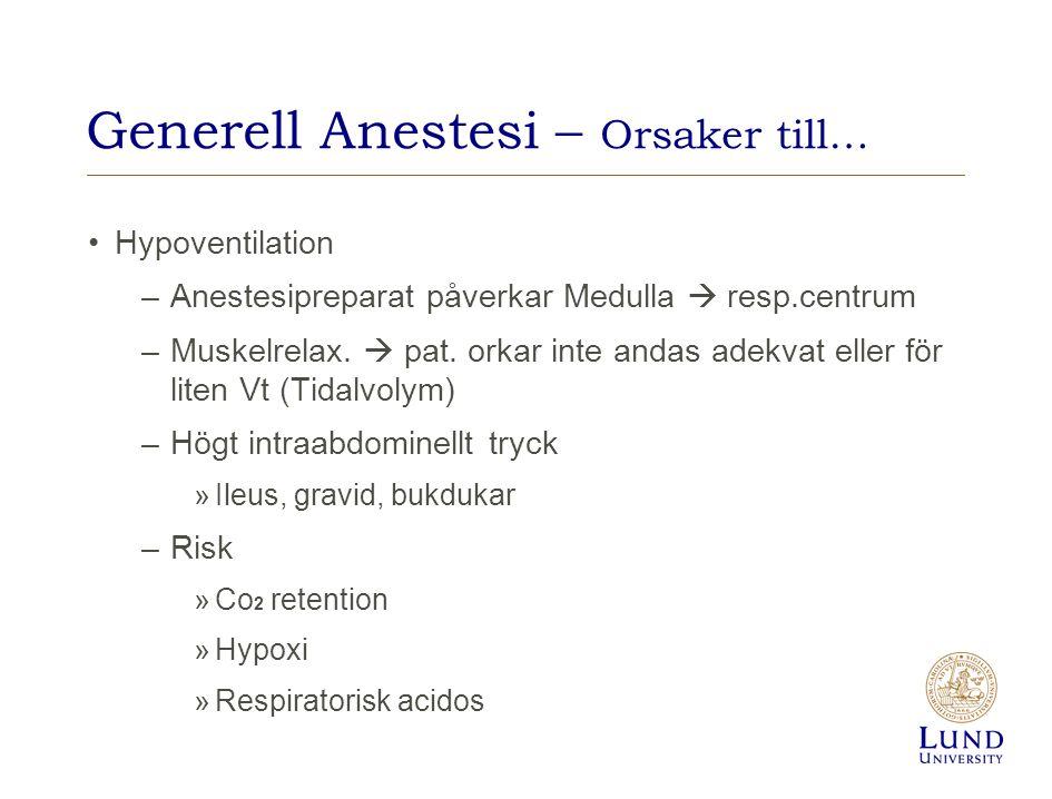 Generell Anestesi – Orsaker till… Hypoventilation –Anestesipreparat påverkar Medulla  resp.centrum –Muskelrelax.  pat. orkar inte andas adekvat elle