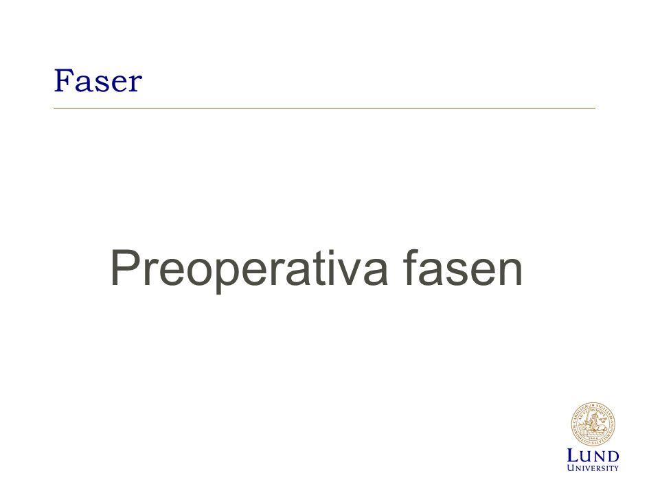 Preoperativ bedömning Anestesiolog gör slutlig medicinsk bedömning Identifiera riskfaktorer a)Kardiella b)Pulmonella c)Ålder + Allmänstatus d)Tidigare operationer e)Aktuell medikamentell behandling