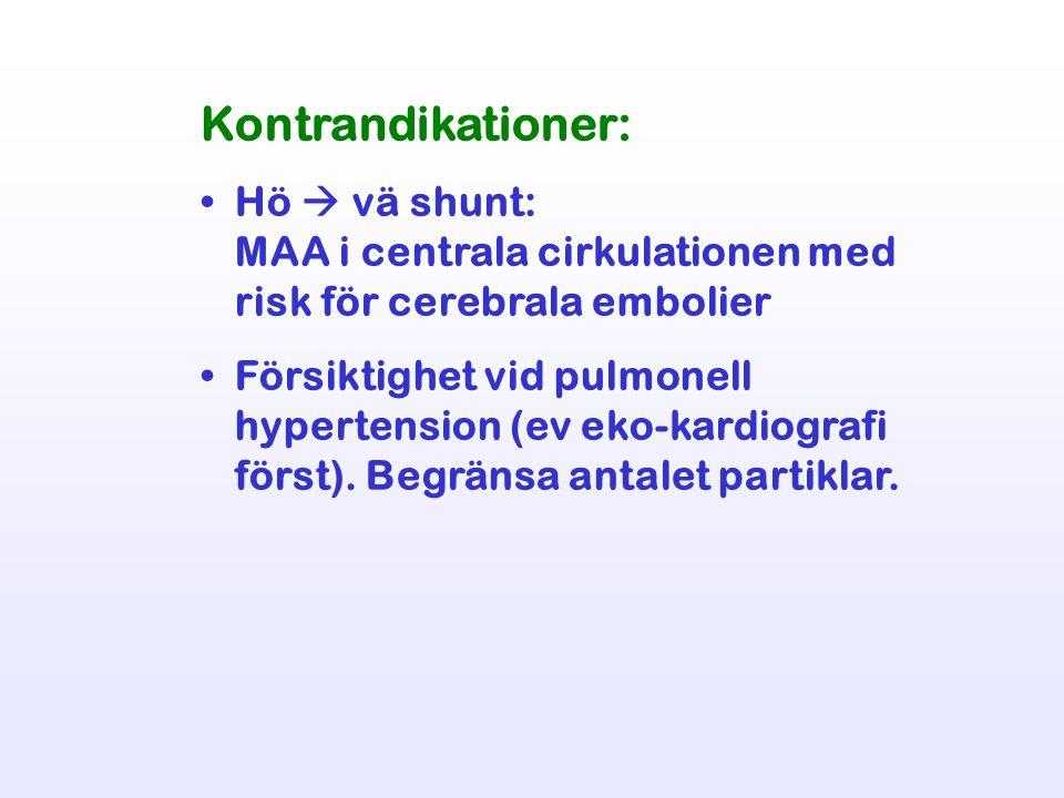 Kontrandikationer: Hö  vä shunt: MAA i centrala cirkulationen med risk för cerebrala embolier Försiktighet vid pulmonell hypertension (ev eko-kardiog