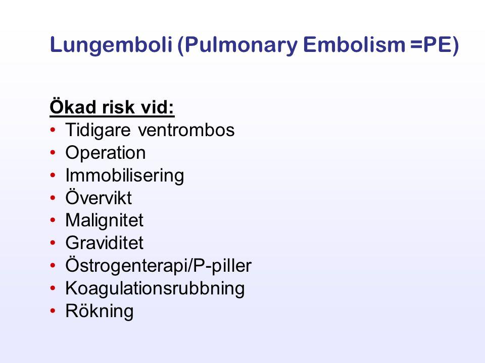 Ökad risk vid: Tidigare ventrombos Operation Immobilisering Övervikt Malignitet Graviditet Östrogenterapi/P-piller Koagulationsrubbning Rökning Lungem