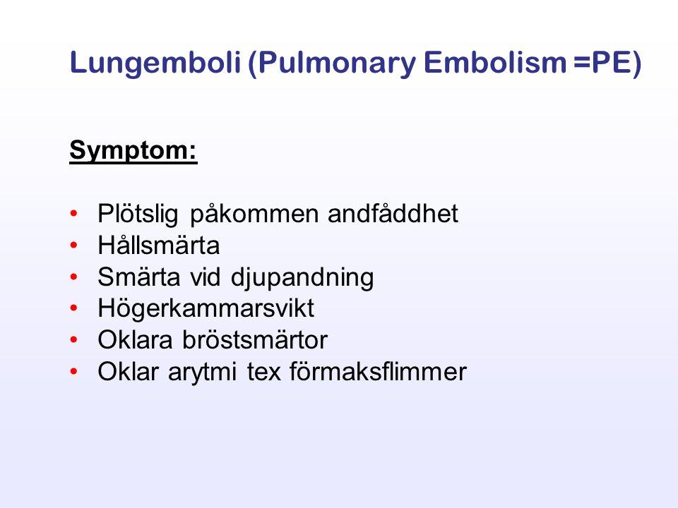 Symptom: Plötslig påkommen andfåddhet Hållsmärta Smärta vid djupandning Högerkammarsvikt Oklara bröstsmärtor Oklar arytmi tex förmaksflimmer Lungembol