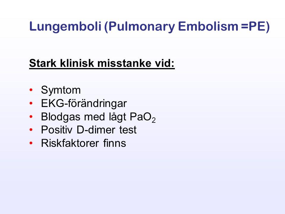 Stark klinisk misstanke vid: Symtom EKG-förändringar Blodgas med lågt PaO 2 Positiv D-dimer test Riskfaktorer finns Lungemboli (Pulmonary Embolism =PE