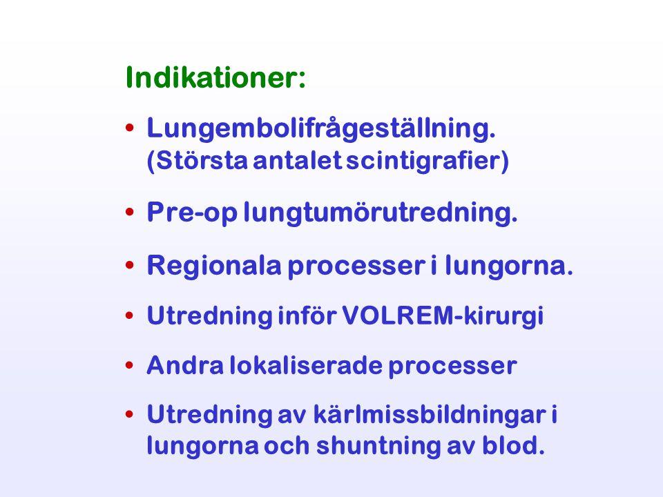 Indikationer: Lungembolifrågeställning. (Största antalet scintigrafier) Pre-op lungtumörutredning. Regionala processer i lungorna. Utredning inför VOL