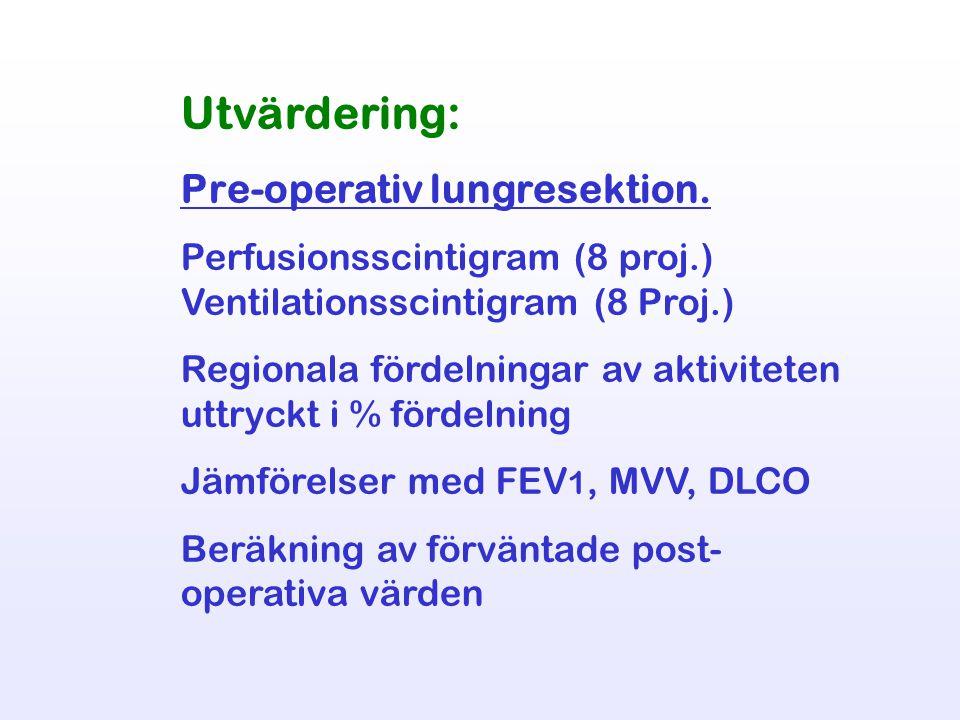 Utvärdering: Pre-operativ lungresektion. Perfusionsscintigram (8 proj.) Ventilationsscintigram (8 Proj.) Regionala fördelningar av aktiviteten uttryck