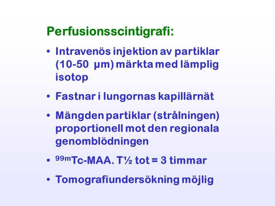 Perfusionsscintigrafi: Intravenös injektion av partiklar (10-50 µm) märkta med lämplig isotop Fastnar i lungornas kapillärnät Mängden partiklar (strål
