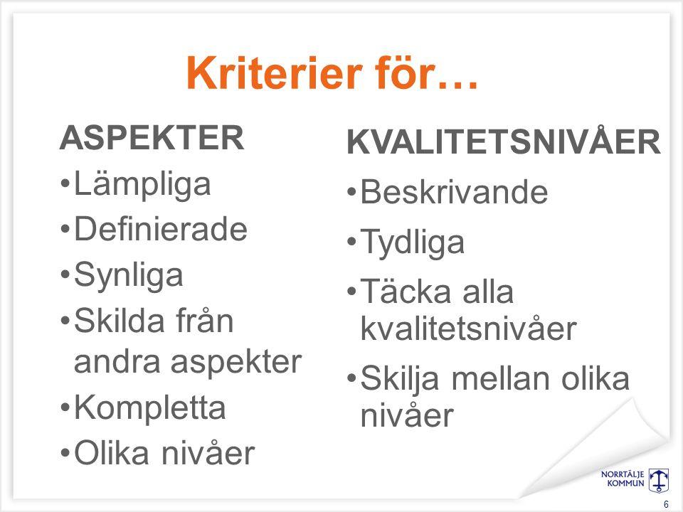 Kriterier för… ASPEKTER Lämpliga Definierade Synliga Skilda från andra aspekter Kompletta Olika nivåer 6 KVALITETSNIVÅER Beskrivande Tydliga Täcka alla kvalitetsnivåer Skilja mellan olika nivåer