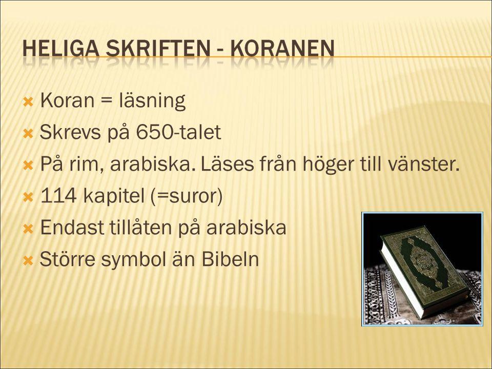  Koran = läsning  Skrevs på 650-talet  På rim, arabiska. Läses från höger till vänster.  114 kapitel (=suror)  Endast tillåten på arabiska  Stör