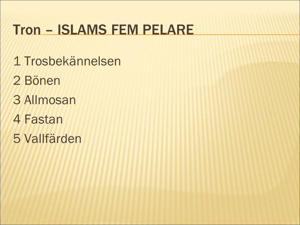 Tron – ISLAMS FEM PELARE 1 Trosbekännelsen 2 Bönen 3 Allmosan 4 Fastan 5 Vallfärden