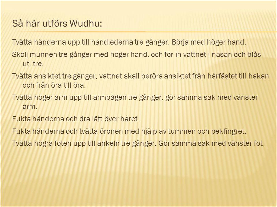 Så här utförs Wudhu: Tvätta händerna upp till handlederna tre gånger. Börja med höger hand. Skölj munnen tre gånger med höger hand, och för in vattnet