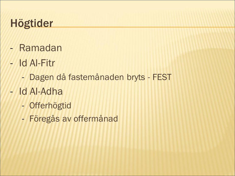 Högtider -Ramadan -Id Al-Fitr -Dagen då fastemånaden bryts - FEST -Id Al-Adha -Offerhögtid -Föregås av offermånad