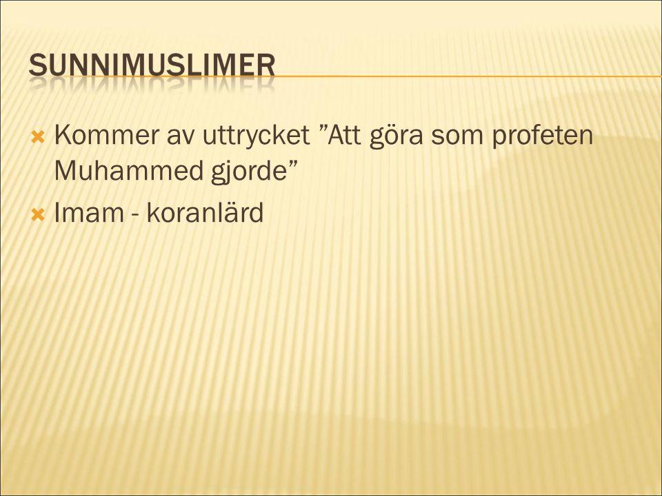""" Kommer av uttrycket """"Att göra som profeten Muhammed gjorde""""  Imam - koranlärd"""
