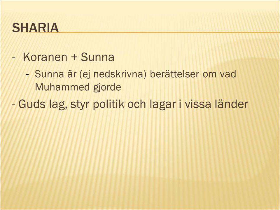 SHARIA -Koranen + Sunna -Sunna är (ej nedskrivna) berättelser om vad Muhammed gjorde - Guds lag, styr politik och lagar i vissa länder