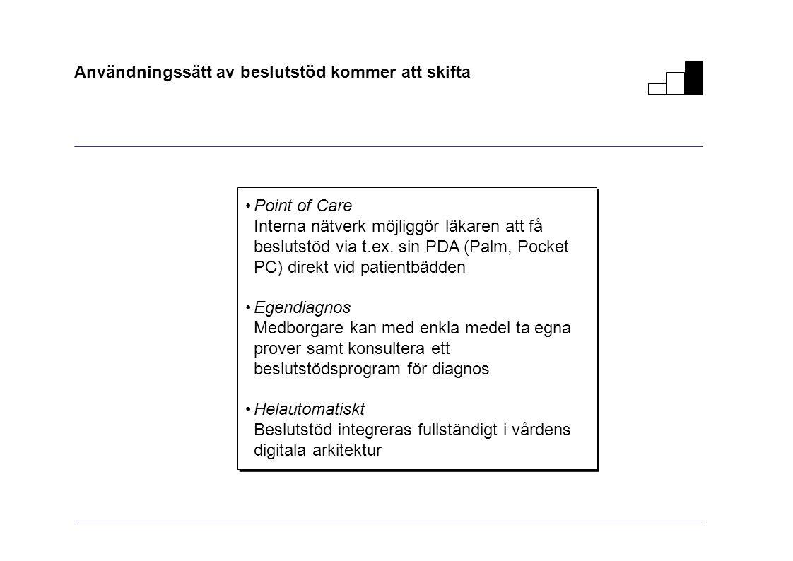 Användningssätt av beslutstöd kommer att skifta Point of Care Interna nätverk möjliggör läkaren att få beslutstöd via t.ex. sin PDA (Palm, Pocket PC)