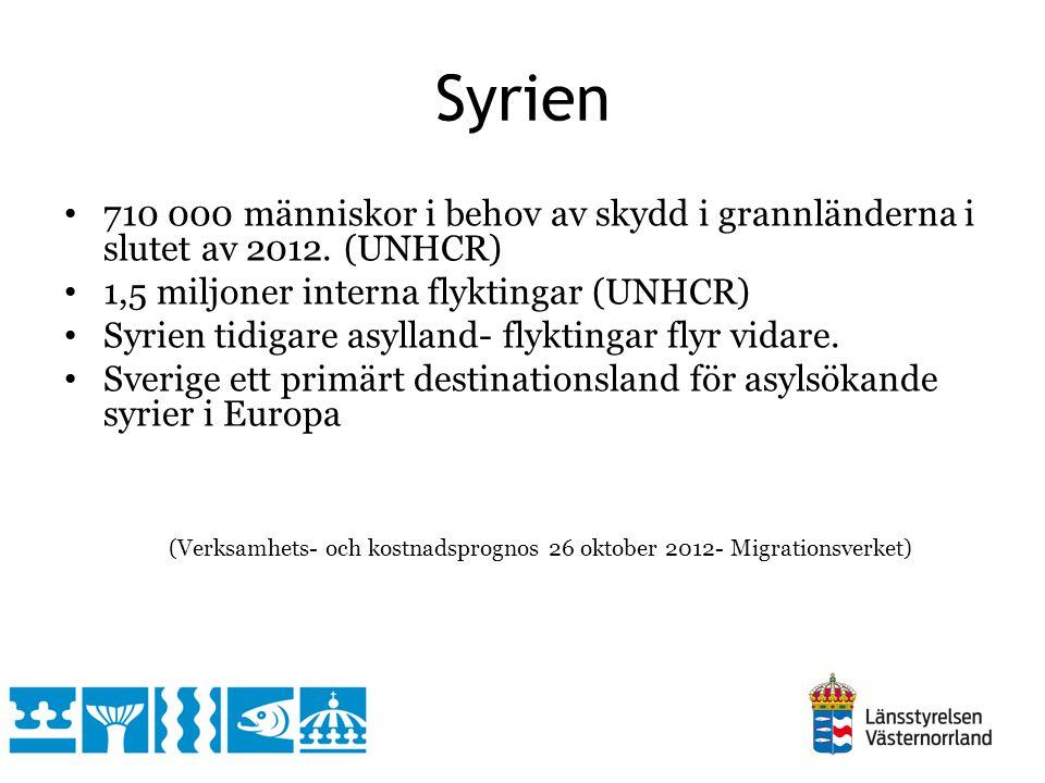 710 000 människor i behov av skydd i grannländerna i slutet av 2012. (UNHCR) 1,5 miljoner interna flyktingar (UNHCR) Syrien tidigare asylland- flyktin