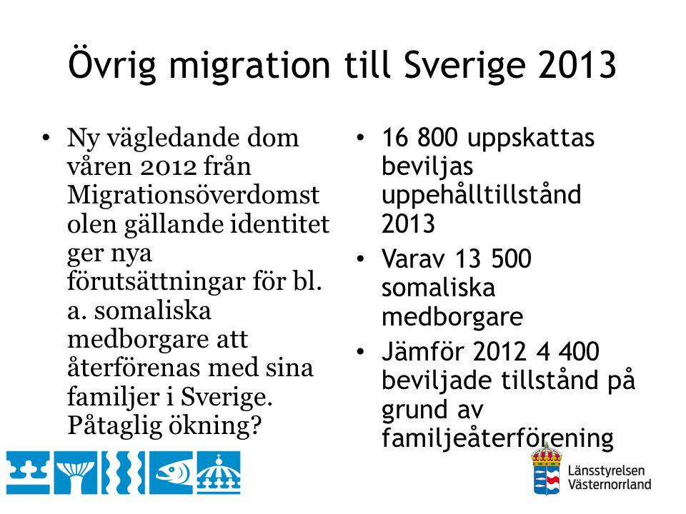 Övrig migration till Sverige 2013 Ny vägledande dom våren 2012 från Migrationsöverdomst olen gällande identitet ger nya förutsättningar för bl. a. som