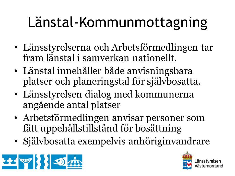 Länstal-Kommunmottagning Länsstyrelserna och Arbetsförmedlingen tar fram länstal i samverkan nationellt.