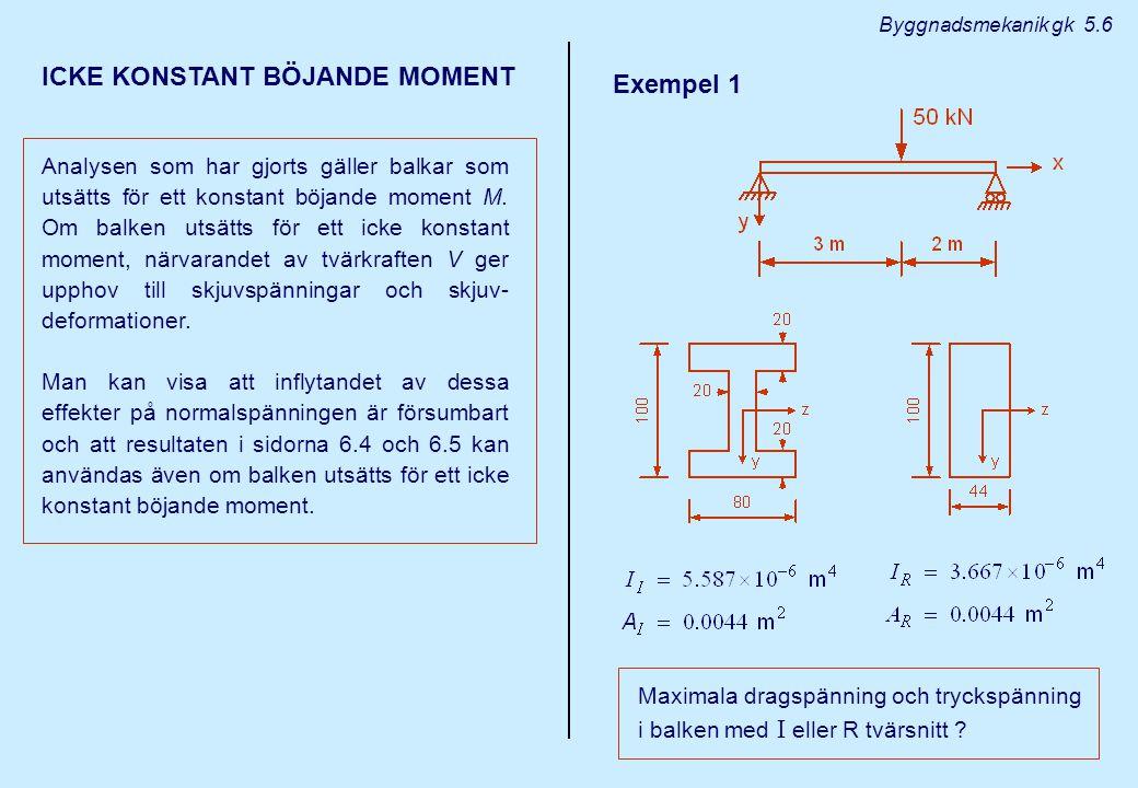 ICKE KONSTANT BÖJANDE MOMENT Analysen som har gjorts gäller balkar som utsätts för ett konstant böjande moment M. Om balken utsätts för ett icke konst