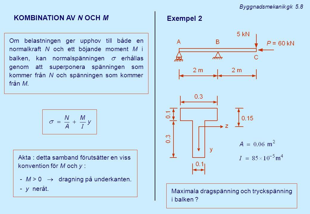 N och M diagram Slutsats : kritiska snitt i del AB : omedelbart till vänster om B kritiska snitt i del BC : omedelbart till höger om B omedelbart till vänster om B ( N = 0 ) Byggnadsmekanik gk 5.9