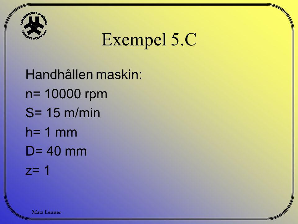 Matz Lenner Exempel 5.C Handhållen maskin: n= 10000 rpm S= 15 m/min h= 1 mm D= 40 mm z= 1