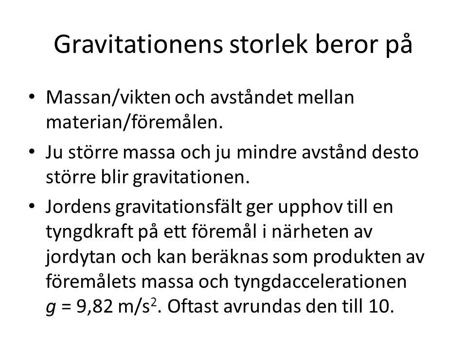 Gravitationens storlek beror på Massan/vikten och avståndet mellan materian/föremålen. Ju större massa och ju mindre avstånd desto större blir gravita
