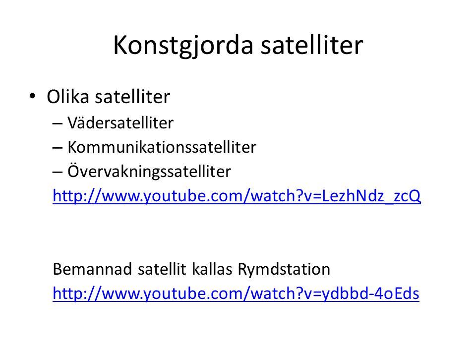 Konstgjorda satelliter Olika satelliter – Vädersatelliter – Kommunikationssatelliter – Övervakningssatelliter http://www.youtube.com/watch?v=LezhNdz_zcQ Bemannad satellit kallas Rymdstation http://www.youtube.com/watch?v=ydbbd-4oEds